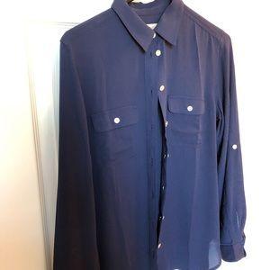 Loft navy button down blouse